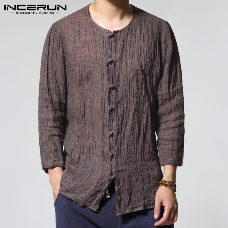 INCERUN Retro Chinese Style Three Quarter Linen Mens Shirts Casual Cotton Regular Fit Solid Button Cover Male Dress Shirts