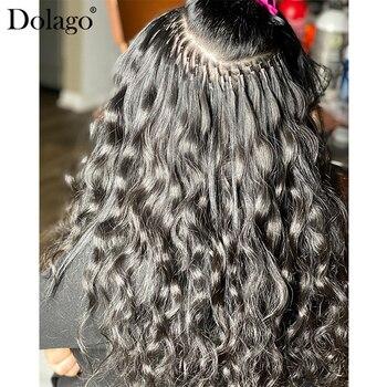 Body Wave I Tip mikrolinki doczepy z ludzkich włosów dla kobiet Natural Black 8-30 cali 3 wiązki brazylijskie dziewicze włosy hurtowo