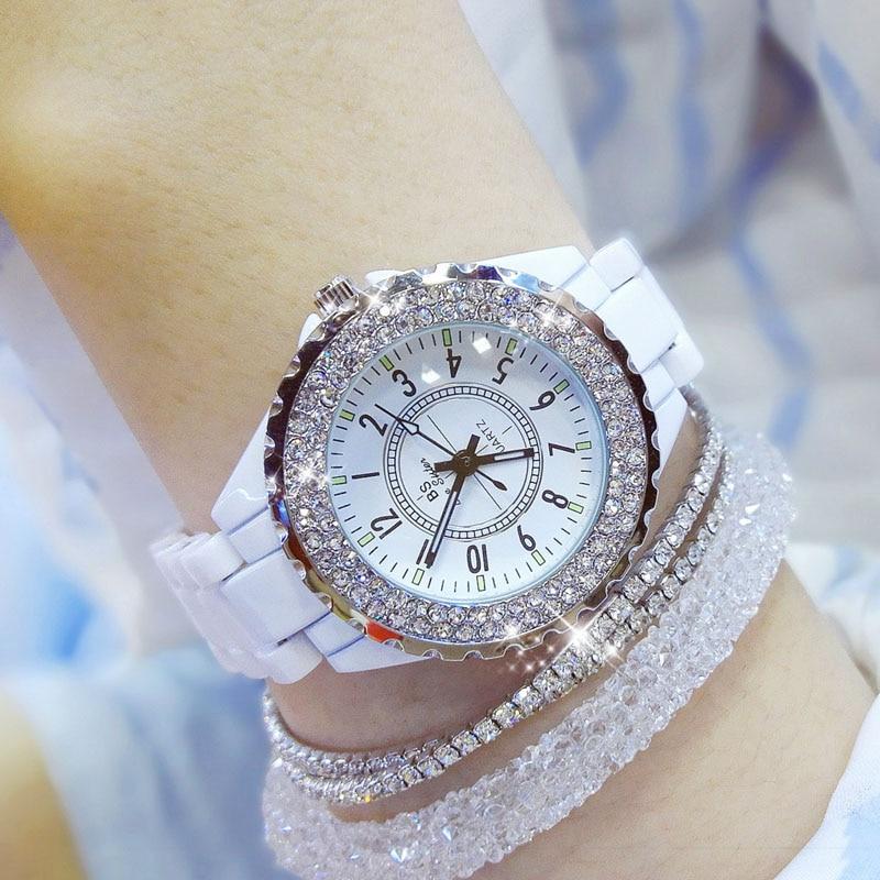 2019 Luxury Crystal Wristwatches Women White Ceramic Ladies Watch Quartz Fashion Women Watches Ladies Wrist watches for Female 8