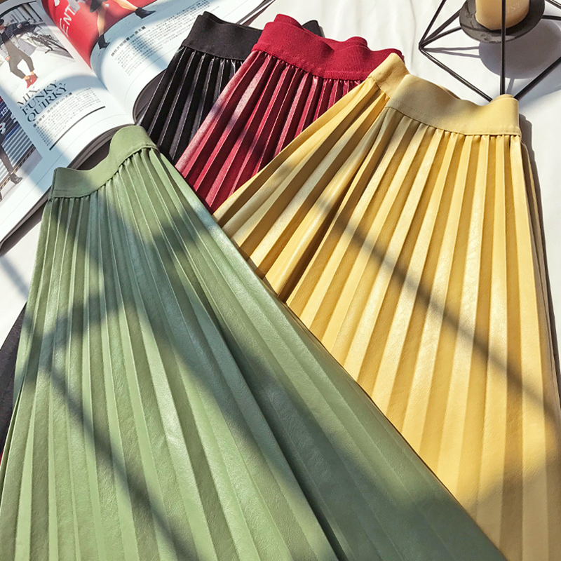 Trendy Design European Women Solid Candy Color Women PU Leather Skirt All-match Fall Winter Stylish Pleated A-line Skirts image