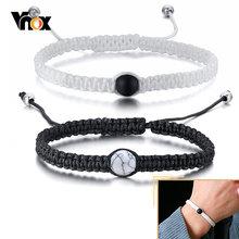 Vnox – Bracelets en corde tressée pour hommes et femmes, breloques en pierre naturelle, promesse d'amour, cadeaux pour lui et elle
