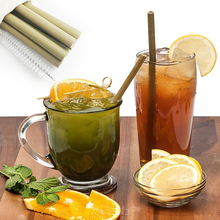 UPORS 6/10Pcs Natural Organic Bamboo Straw Set Eco Friendly Reusable Drinking Straws with Case Brush 8inch