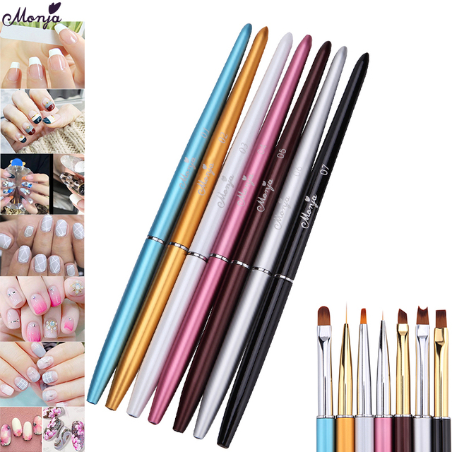 Monja 7 Styles Nail Art French Metal Handle Stripe Lines Liner Image Painting Brush Acrylic UV GEL Extension Builder Drawing Pen 1