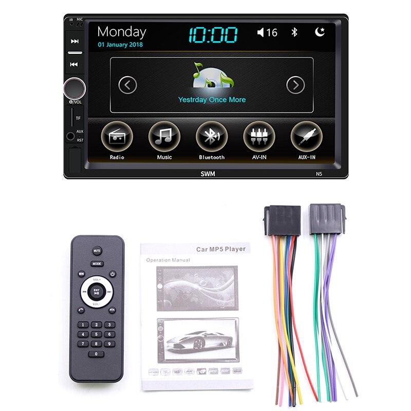 Double Din 7 pouces autoradio stéréo Mp5/4/3 lecteur capacitif presse écran lecteur Sd/Fm/Usb/Aux/Bluetooth voiture accessoires Audio,