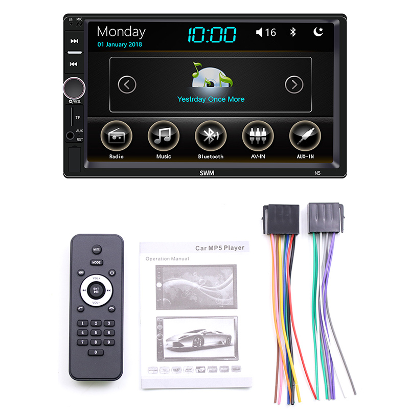 Double Din 7Inch Car Radio Stereo Mp5/4/3 Player Capacitive Press Screen Sd/Fm/Usb/Aux/Bluetooth Audio Accessories,