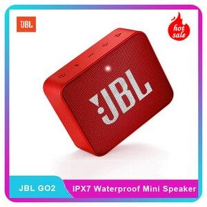 Image 1 - JBL GO2 Беспроводная Bluetooth мини Колонка IPX7 Водонепроницаемая Портативная колонка для занятий спортом на открытом воздухе 3,5 мм перезаряжаемая батарея с микрофоном