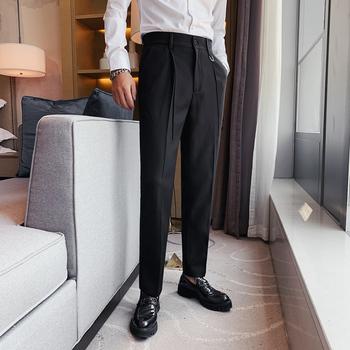 Wysokiej jakości brytyjski styl solidne proste spodnie mężczyźni odzież moda 2020 biznes formalna odzież spodnie biurowe czarny szary 36-29 tanie i dobre opinie MOTUWETHFR CN (pochodzenie) pants men COTTON POLIESTER spandex Mieszkanie Elegancko na luzie na zamek błyskawiczny Spodnie garniturowe