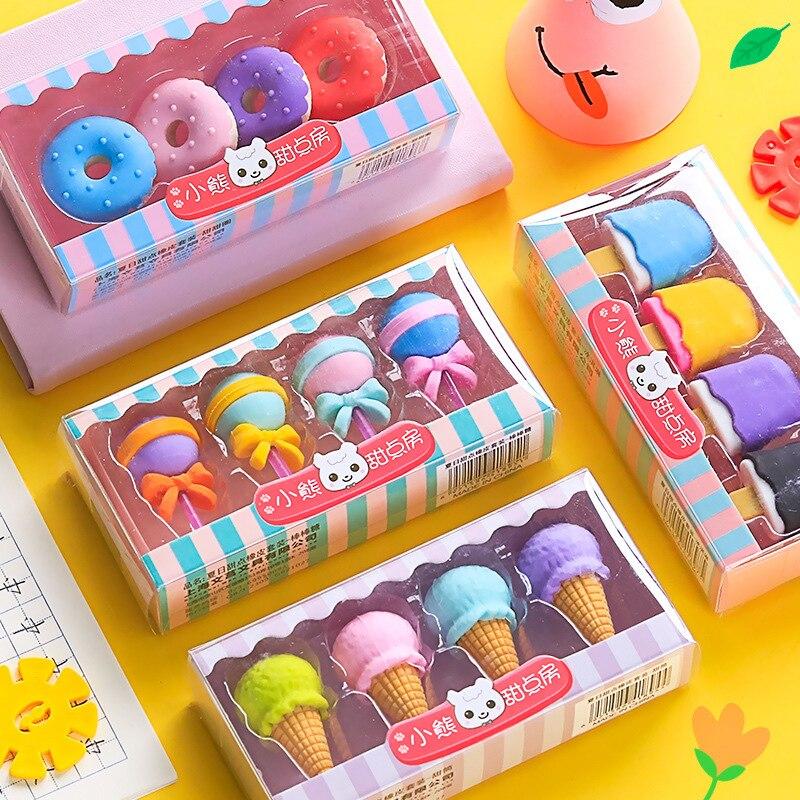 Комплект из 4 предметов с принтом «Yummy» десерт набор ластиков мини леденец на палочке мороженое эскимо пончики резиновый ластик для каранда...
