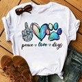 Футболка Maycaur, женская футболка с собаками и лапами, забавная Повседневная футболка с круглым вырезом и короткими рукавами, милая Летняя жен...