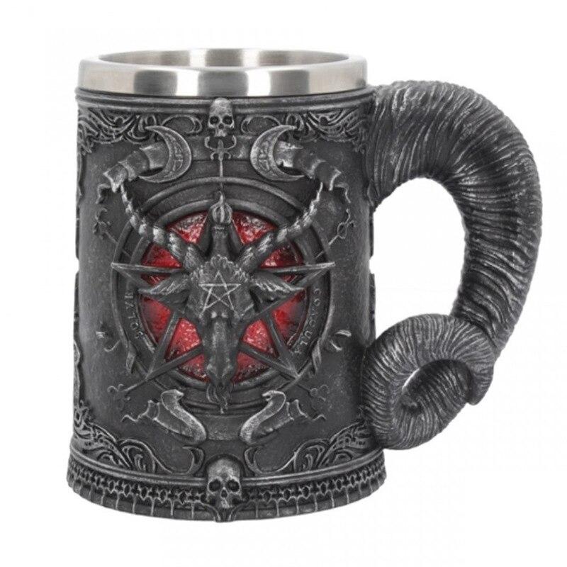 Baphomet coffee mugs stainless steel cups and mugs Halloween skull cup creative drinkware