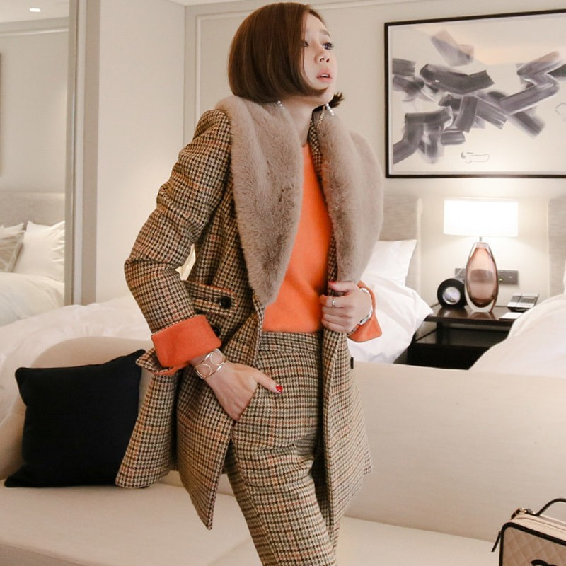 2020 Designer Long Sleeve Woolen Coats And Pants 2 Pieces Suits Women Stripe Autumn Winter Fashion Elegant Slim Office Lady Sets