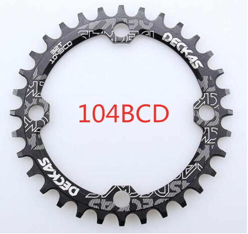 Deckas 104 bcd 32/34/36/38tマウンテン自転車クランクチェーンホイールアルミBcd104 チェーン中空修理適切な 9 s 10 s 11s