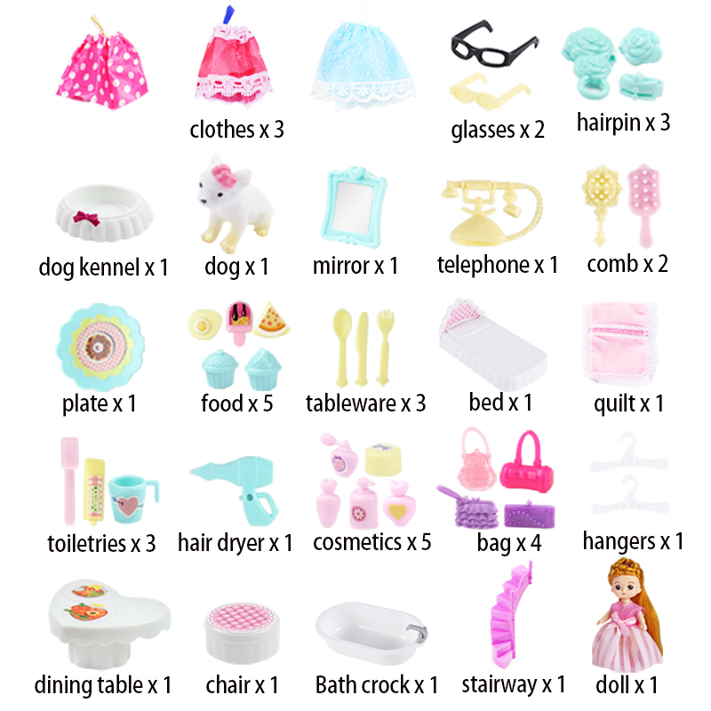 Image 5 - Doll House hand bag accessories cute Furniture Miniature Dollhouse Birthday Gift home Model toy house doll Toys for ChildrenDoll Houses   -