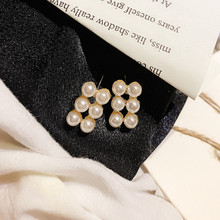 DREJEW Small Rectangle Asymmetrical White Pearl Statement Earrings 2019 925 Alloy Stud for Women Fashion Jewelry HE659