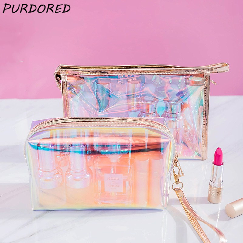 PURDORED 1 Pc Colorful Holographic Women Cosmetic Bag TPU Clear Makeup Bag Beauty Organizer Pouch Travel Clear Makeup Kit Case