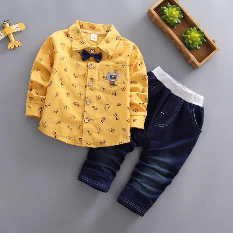 Jungen Kleidung Frühling Formale Gentleman 2 stücke Anzug Für Kinder Clothess Bebe Baumwolle Set Kinder Plaid Trainingsanzug Set 1 2 3 4 5 JAHRE