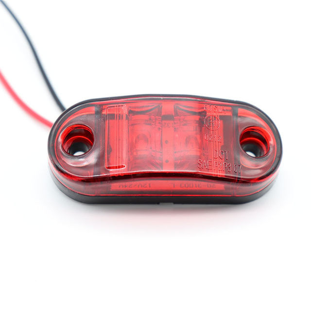 2Pcs 12V / 24V LED Side Marker Lights Car External Lights Warning Tail Light Auto Trailer Truck Lorry Lamps Red color 4
