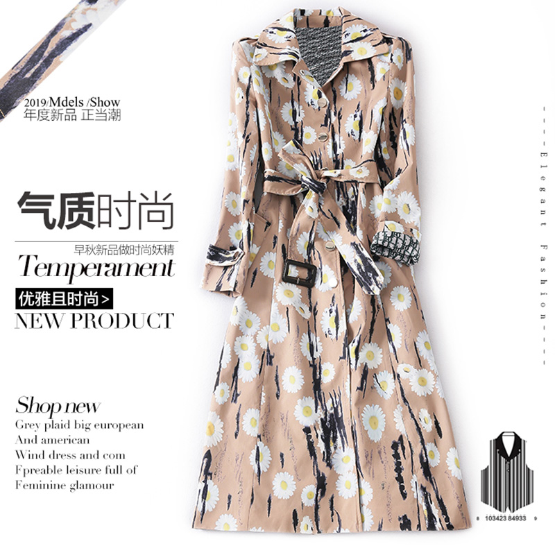 High Street Design European American Style Elegant Women Outerwear Long A-line Quality Coat Flower Printing Fashion Chic   Trench