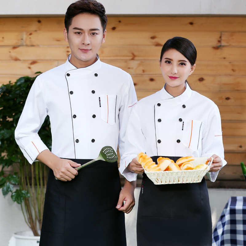 New Chef Uniform Unisex Chef Clothes Bakery Restaurant Kitchen Work Wear Long Sleeves Breathable Hotel Cooks Jacket Food Service