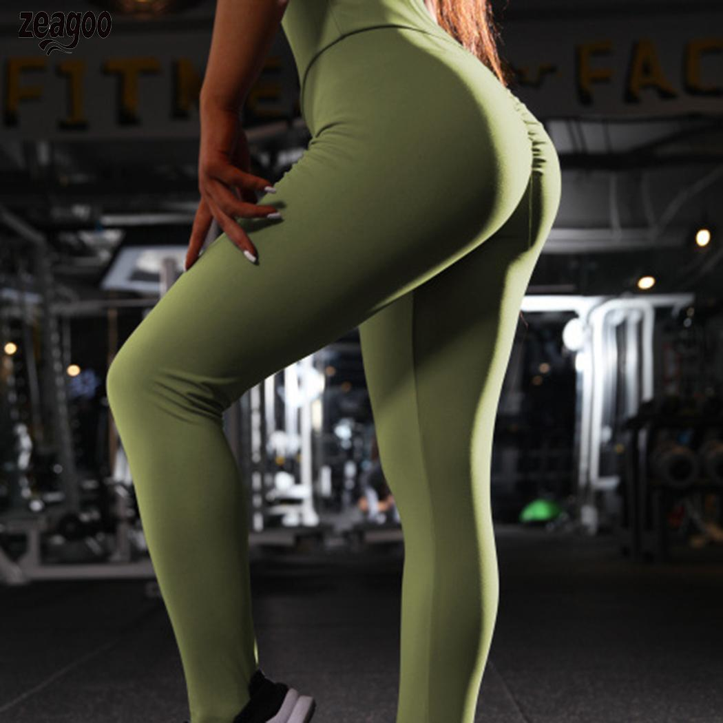 Women Casual Solid High Waist Slim Leggings Fitness Stretch Full Length All Season Pants
