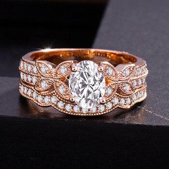14k Rose Gold Diamond Ring for Women Bague Gift for Mom Wedding Gemstone 14 K Gold and Diamond Engagement Jewelry Ring Bizuteria 2