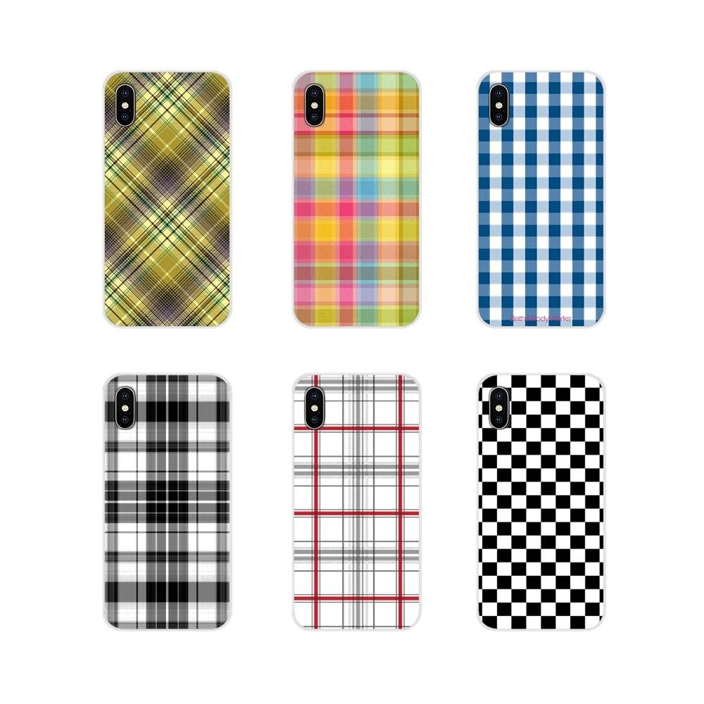 Transparent TPU Case Cover Checkerboard Plaid Checked Checkered For Motorola Moto X4 E4 E5 G5 G5S G6 Z Z2 Z3 G G2 G3 C Play Plus