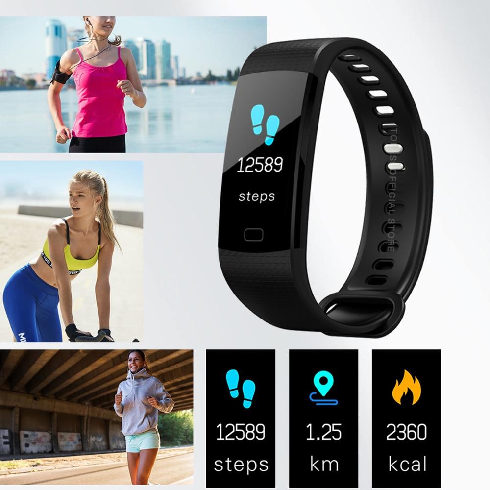 TOLASI Women Men Smart Wrist Band Bluetooth Heart Rate Blood Pressure Pedometer Clock LED Sport Bracelet