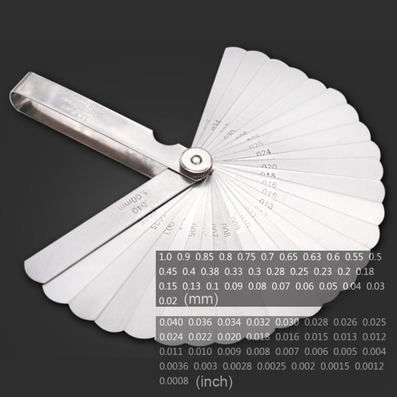 32 Blades Feeler Gauge Metric Gap Filler 0.02-1MM / 0.0008-0.040 INCH Gage Measurment Tool For Engine Valve Adjustment