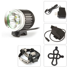 3x XM-L T6 LED 1800Lm LED Headlamp & Bicycle Light White Light Color Glass Lens with 4400mAh Battery Pack US Plug Only