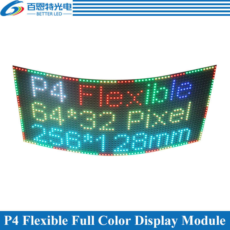 P4 Fleksibel LED Screen Panel Modul 256*128 Mm 64*32 Piksel 1/16 Scan Dalam Ruangan Penuh Warna P4 fleksibel LED Display Panel Modul