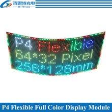 P4 Flessibile pannello dello schermo A LED modulo 256*128 millimetri 64*32 pixel 1/16 Scan Dellinterno di colore Completo P4 flessibile display A LED del modulo del pannello
