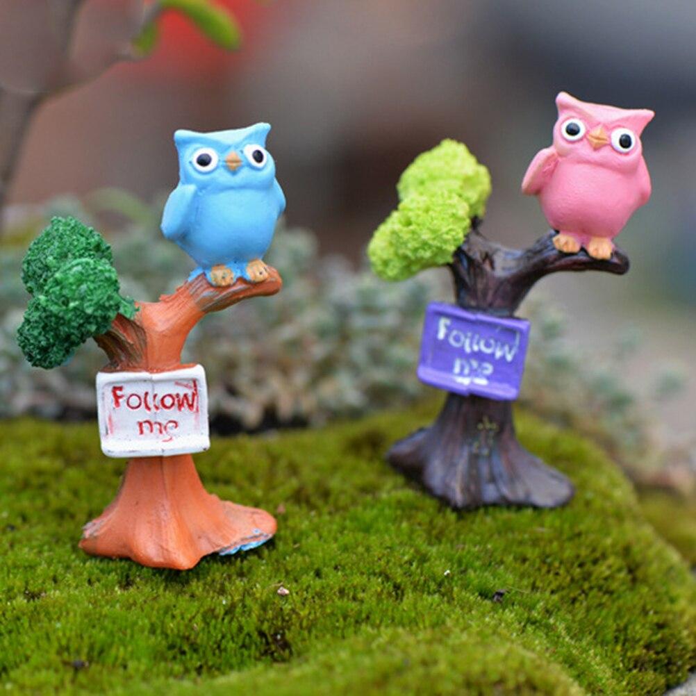 2017 1PCS DIY Resin Owl & Tree Branch Mini Crafts Miniatures Fairy Garden Ornaments Bonsai Micro Landscape Garden Decoration