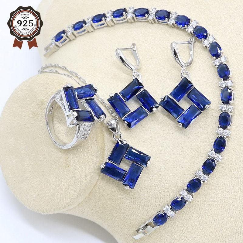 Геометрический Серебряный набор украшений для женщин темно синий циркон браслет серьги ожерелье подвеска кольцо подарочная коробка|Ювелирные наборы для невесты|   | АлиЭкспресс