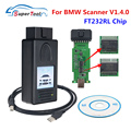 A ++ качественный OBD2 автомобильный Сканер 1.4.0 для BMW сканер инструмент разблокировка Версия 1,4 с чипом FT232RL PA Soft V1.4.0 для BMW сканер 1,4