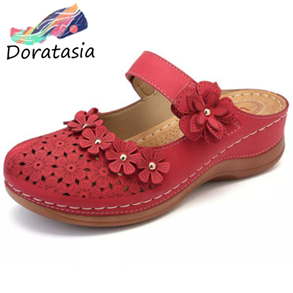DORATASIA retro lady flower sandals summer sewing slip on cover toe casual sandals women beach round toe low heel shoes woman