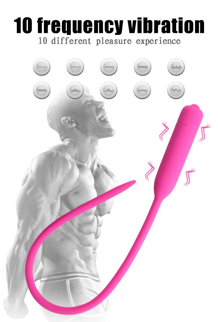 10 Speed Vibrator Male Masturbator Sex Toys Silicone Vibrating Penis Plug Sounds Dilators Sex Products For Men