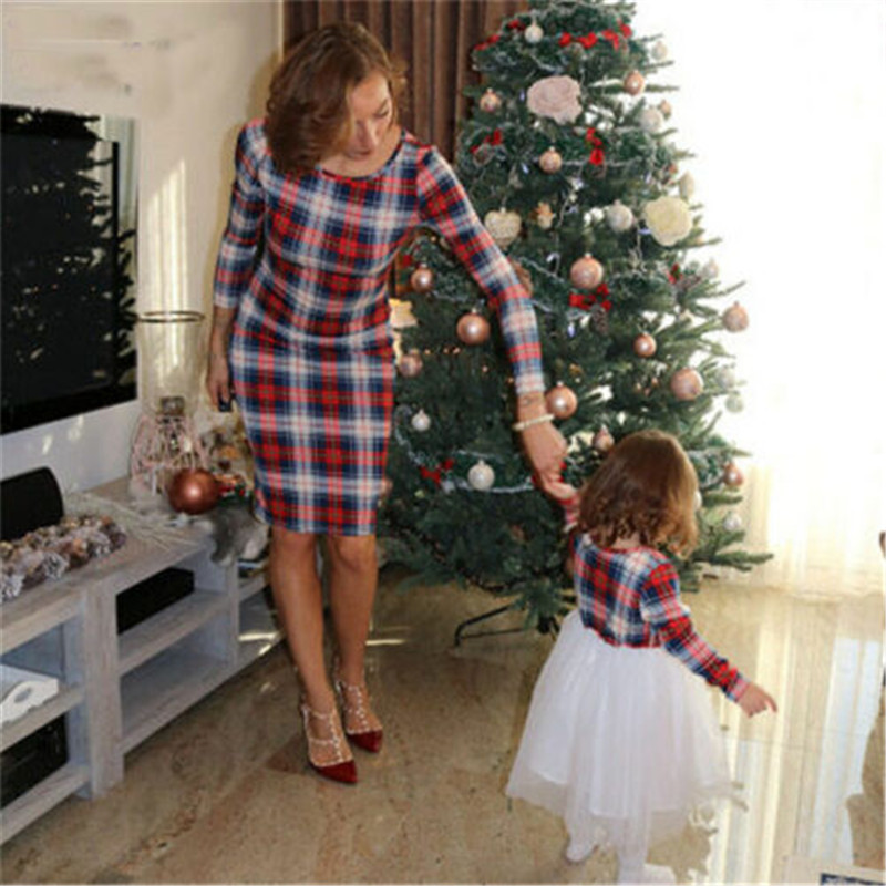 Family Matching Midi Dress New Plaid Printed Mother Daughter Clothes Autumn Long Sleeves Dresses Mom Baby Girls Vestido Fall Hot