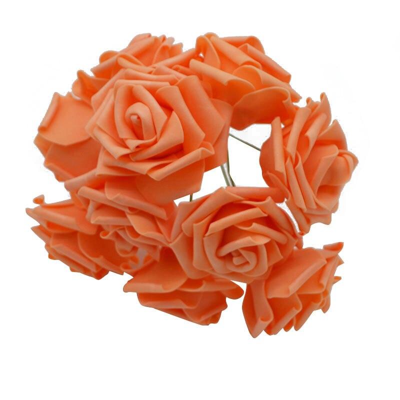 10 шт. 8 см большие ПЭ пенные цветы искусственные розы цветы Свадебные букеты Свадебные украшения для вечеринки DIY Скрапбукинг Ремесло поддельные цветы - Цвет: orange no leaf