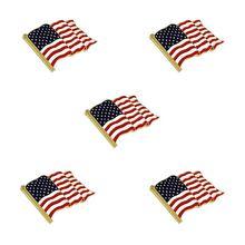 5Pcs Waving American Flag Enamel Lapel Pin  Brooch Patriotic Proudly Jewelry 5pcs waving american flag enamel lapel pin the united state brooch patriotic proudly jewelry