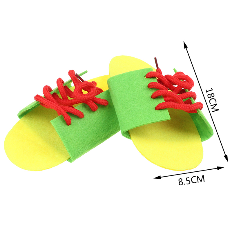 Random 1 Pair Clever Children Non-woven Fabric Lacing Shoes Kids Early Educational Toy Toddler Kids Teaching Tie Shoelaces Toy