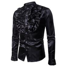 Hombre Shirts Costume Nightclub Personality Fashion Men Fold Host Winter Autumn Male Long Sleeve Slim Casual