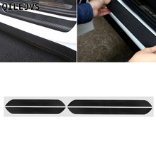 QILEJVS 4 Pcs Black Carbon Fiber Car Door Pedal Plate Sill Scuff Cover Sticker For Skoda Octavia A5 A7