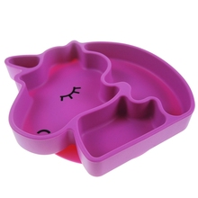 Baby Unicorn Silicone Dish Feeding Plate For Baby Toddlers Non Slip Divided Tableware
