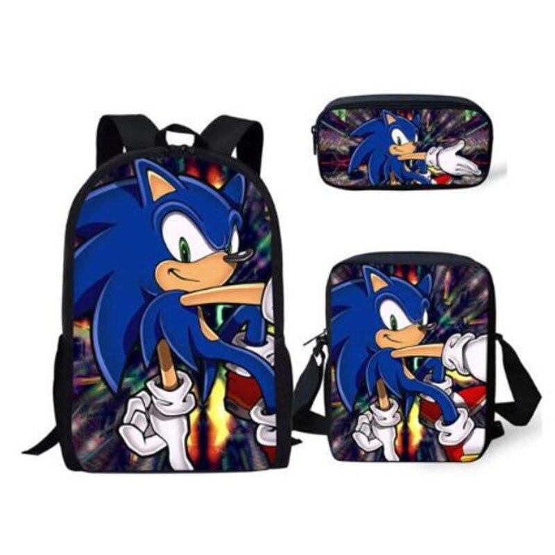 3PCs/Set Children's School Backpack Sonic The Hedgehog Kids School Bags Cartoon Animal Design Teenagers Book-Bags Set