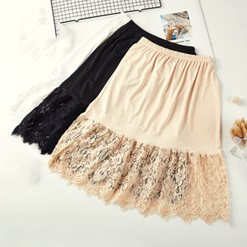 Women Skirt Extender Knee Lace Slip Hollow Length A-Line Half Extenders