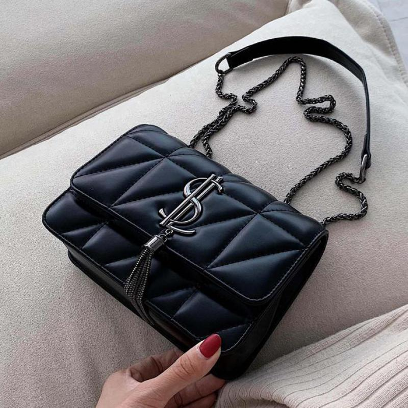 Lingge Chain Small Bag Female 2020 Spring And Summer New Shoulder Bag Fashion Korean Tassel Messenger Bag