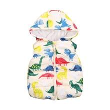 Little Boy's Outer Wear Hooded Vest Autumn and Winter Warm Dinosaur Printed Zipper Open Jacket