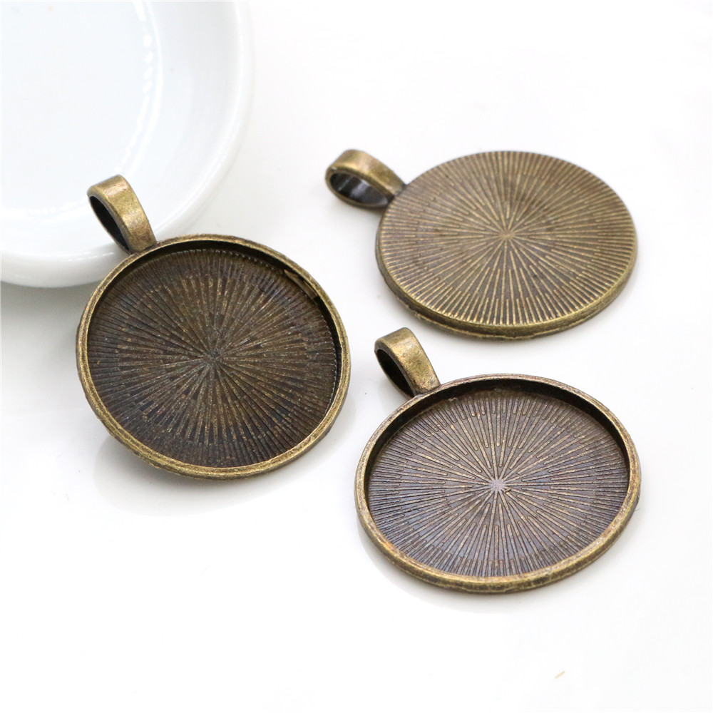 New Fashion 10pcs 25mm Inner Size Antique Bronze Classical Cabochon Base Setting Charms Pendant (A4-08)