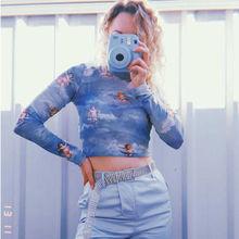 Women's Sexy Long Sleeve See Through Sheer Mesh Sexy Angel Print Crop Top T-Shir