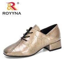 Женские дизайнерские туфли оксфорды royyna однотонные на среднем